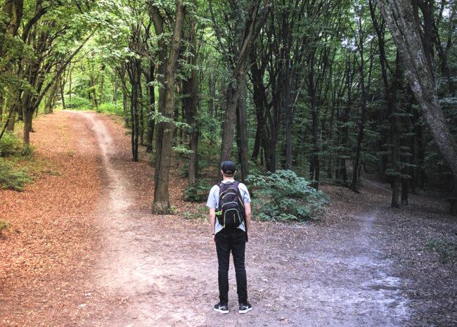 Um homem entre dois caminhos, ele está em dúvida de qual optar.